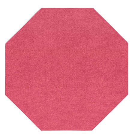 Broadway Collection Solid Color Area Rugs Pink - 2' Octagon - Black And White Floor Runner