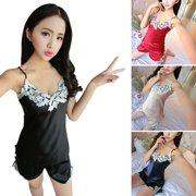 996c9fbc46 USA Women Sexy Faux Silk Braces Vest+Shorts Pajamas Nightwear Sleepwear  2PCS Set
