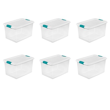 Sterilite, 64 Qt./61 L Latching Box, White, Case of 6