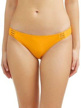 Juniors' Solid Strappy Scoop Swimsuit Bottom