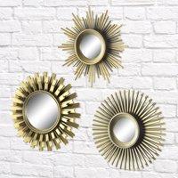 Better Homes & Gardens 3-Piece Round Sunburst Mirror Set in Gold Finish