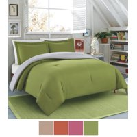 NC Home Fashions Solid Color Microfiber Reversible Comforter set, Greeneray/Silver Gray, Twin/Twin XL