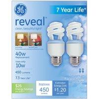 GE reveal spiral CFL 10 watt T3 spiral 2-pack