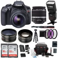 canon t6 eos rebel dslr camera w/ ef-s 18-55mm is ii lens & accessory bundle
