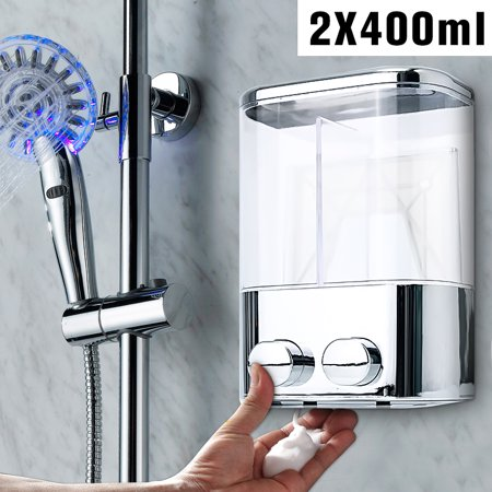 Wall Mount 400ml Double Liquid Soap Shampoo Dispenser Shower Lotion Bottle Home