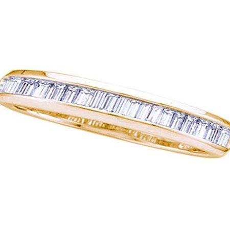Baguette Diamond Eternity Wedding Band - 14kt Yellow Gold Womens Baguette Diamond Wedding Anniversary Band Ring 1/6 Cttw