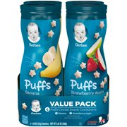 Gerber Puffs Banana/Strawberry Apple Cereal Snack Variety Pack 1.48 oz. Canisters (Pack of 4)