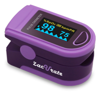 Zacurate Pro Series Deluxe 500D Fingertip Pulse Oximeter Blood Oxygen Saturation Monitor with Plethysmograph Feature, Silicon Cover, Lanyard and Batteries, Royal Purple
