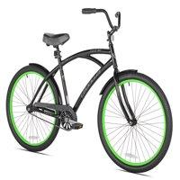 """Kent 26"""" Men's, La Jolla Cruiser Bike, Black/Green"""