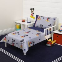 Mickey Mouse 90th Birthday 4-Piece Toddler Bed Set - Quilted Comforter, Fitted Sheet, Flat Sheet and Standard Size Pillowcase
