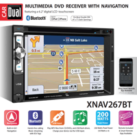 Dual Electronics XNAV267BT 6.2 inch LED Backlit LCD Multimedia Touch Screen Double Din Car Stereo with Built-In Navigation, Bluetooth, iPlug Smart App, CD/DVD Player & USB/microSD Ports