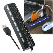 USB Hub by Insten 7 Port USB Hub with ON & OFF Switch Adapter for Computer Notebook PC