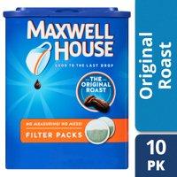 Maxwell House Original Roast Ground Coffee Filter Packs, 10 count Box