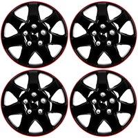 "4 Pc Set of 16"" ICE BLACK / RED TRIM Hub Caps Skin Rim Cover for OEM Steel Wheel"