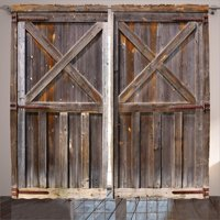 Rustic Curtains 2 Panels Set, Old Wooden Barn Door of Farmhouse Oak Countryside Village Board Rural Life Photo Print, Window Drapes for Living Room Bedroom, 108W X 84L Inches, Brown, by Ambesonne