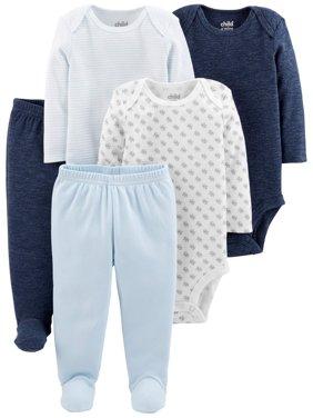 Basic Long Sleeve Bodysuits & Pants, 5pc Set (Baby Boys)
