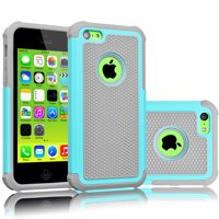 iPhone 5C Case, Tekcoo(TM) [Tmajor Series] [Turquoise/Grey] Shock Absorbing Hybrid Impact Defender Rugged Slim Case Cover Shell For Apple iPhone 5C Hard Plastic Outer + Rubber Silicone Inner