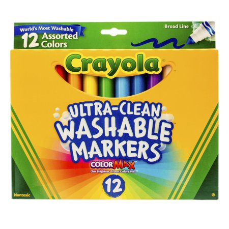 Lapis Markers - Crayola Washable Marker Set, 12-Colors, Broad