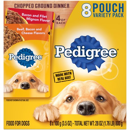 Pedigree Chopped Ground Dinner Beef Bacon and Cheese Flavors and Bacon and Filet Mignon Flavor Adult Wet Dog Food Variety Pack, (8) 3.5 oz. Pouches (Chopped Food Network Halloween Episode)