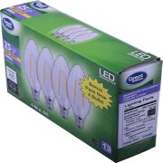 Great Value Decorative LED Light Bulb, Soft White, Dimmable, 2.5W (25W Equivalent), 4 Count