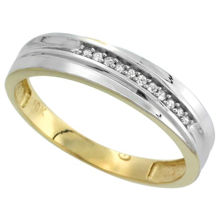 10k Yellow Gold Mens Diamond Wedding Band Ring for Men 0.04 cttw Brilliant Cut 5mm wide Size 11