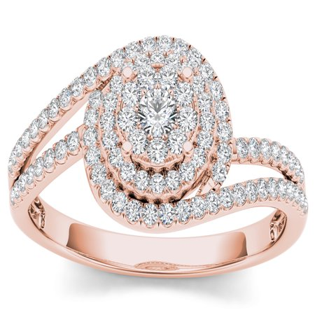 1/3Ct TDW Diamond 10K Rose Gold Bypass Engagement (Brass Engagement Ring)
