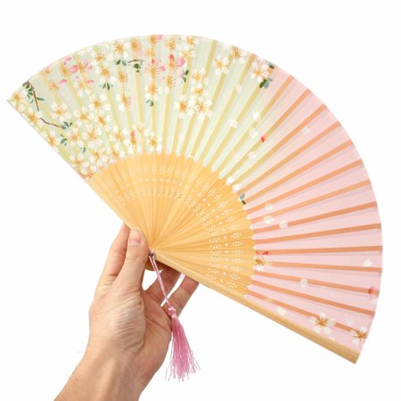 Chinese Culture Chinoiserie Silk Bamboo Flower Folding Pocket partyfan Hand Fan for Wedding - Silk Wedding Hand Fan
