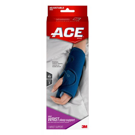 ACE Brand Night Wrist Sleep Support, Adjustable, Blue, (Soft Form Elegant Wrist Support)