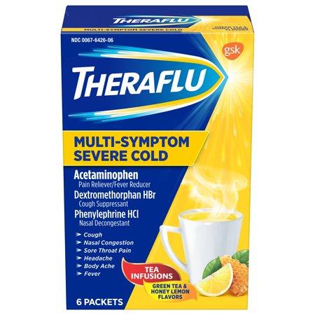 Theraflu MultiSymptom Severe Cold with Green Tea & Honey Lemon Hot Liquid Powder for Cough & Cold Relief, 6