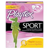 Playtex Sport Unscented Tampons, Regular Absorbency, 18 Ct