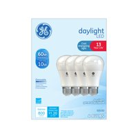GE LED 10W Daylight General Purpose, A19 Medium Base, Dimmable, 4pk Light Bulbs