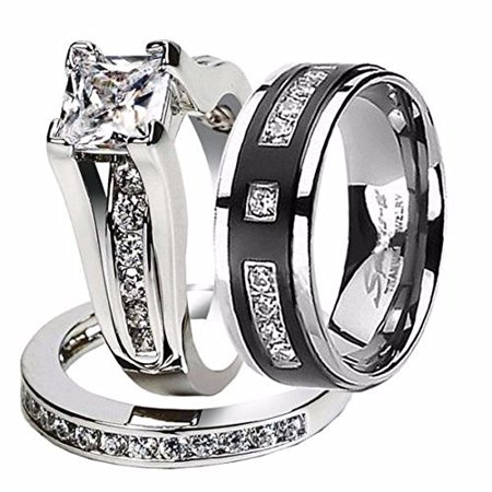Hers and His Stainless Steel Princess Wedding Ring Set & Titanium Wedding Band Women's Size 10 Men's Size -