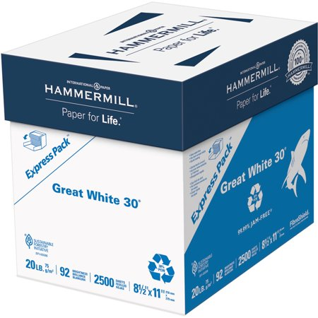 Hammermill, HAM67780, Great White Recycled Copy Paper, 2500 / Carton, - Printed Paper