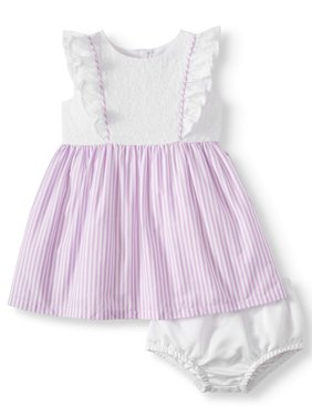 Eyelet and Poplin Stripe Special Occasion Dress (Baby Girls)