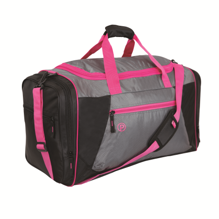 """Protege 22"""" Sport Duffel, Gray with Pink"""