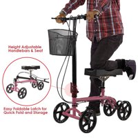 Clevr Foldable Medical Steerable Knee Walker Aid Scooter Roller Crutch Pink
