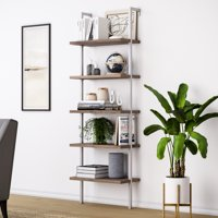 Theo 5-Shelf Ladder Bookcase, Light Brown Wood Shelving w/ White Metal Frame