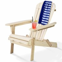 Gymax Foldable Fir Wood Adirondack Chair Patio Deck Garden Outdoor