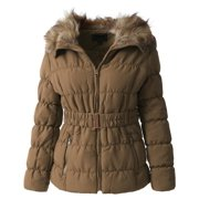 Womens Fur Lined Coat Belted Jacket Parka Quilted Faux Fur Insulated Warm Puffer Outerwear