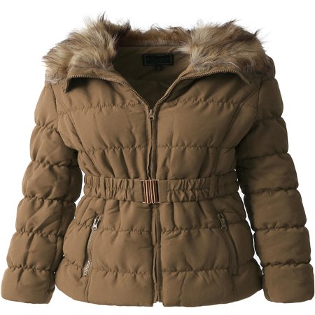 - Womens Fur Lined Coat Belted Jacket Parka Quilted Faux Fur Insulated Warm Puffer Outerwear