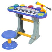 Best Choice Products Musical Kids Electronic Keyboard 37 Key Piano w/ Synthesizer, Stool, Records and Playbacks - Blue