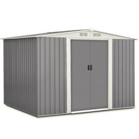 Costway 6 x8FT Outdoor Garden Storage Shed Tool House Sliding Door Galvanized Steel Gray