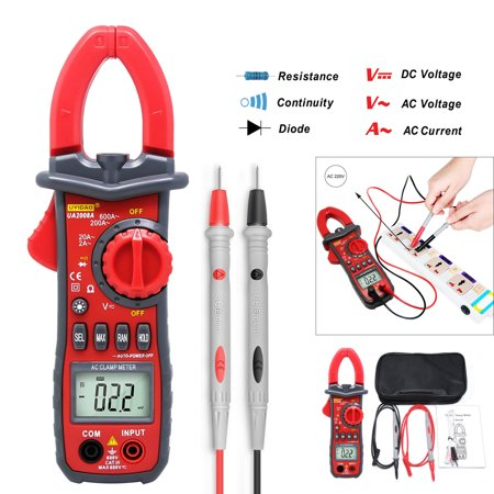 UYIGAO U2008A LCD Clamp 1999 Counts Auto-ranging Multimeter AC DC Voltmeter Ammeter Voltage Current, Resistance, Capacitance, Frequency, Diode Autoranging Digital Clamp Meter