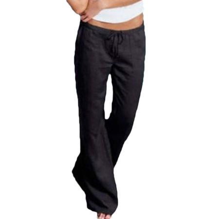 Women Sport Gym Linen Trouser Casual Wide Leg Pants Loose Casual Long Trousers