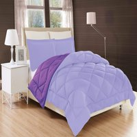 Down Alternative Elegant Comfort 3-Piece Reversible Comforter Set - -Twin, Lilac/Purple