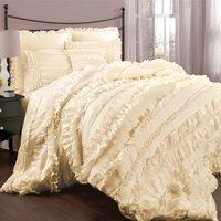 Lush Décor Belle Comforter Ivory 4Pc Set Queen