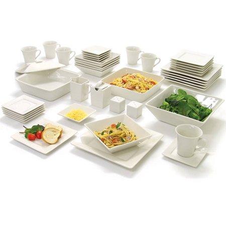 10 Strawberry Street Nova Square Banquet 45-Piece Dinnerware Set - Purple Dishes
