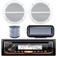 """JVC KD-R99MBS In-Dash Marine Boat Bluetooth Radio USB CD Receiver Bundle + Cover With Pair Enrock 6.5"""" White Stereo Speakers + 18g 50FT Marine Speaker Wire"""