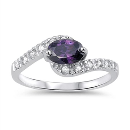 CHOOSE YOUR COLOR Simulated Amethyst Modern Elegant Solitaire Ring .925 Sterling Silver Band Amethyst Heart Shape Solitaire