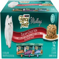 Fancy Feast Medleys Tuscany Collection With Long Grain Rice & Garden Greens and Savory Sauce Wet Cat Food Variety Pack - (12) 3-oz. Cans